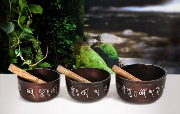 Conjunto de 3 Taças Tibetanas